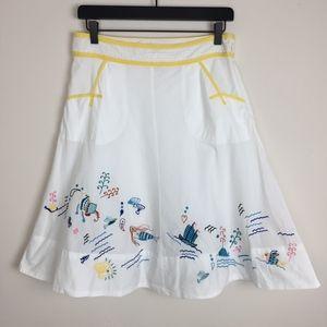 Anthro Mermaids RARE Embroidered Mermaid Skirt 6